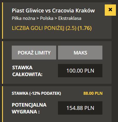 Ekstraklasa TYPY do meczu Piast Gliwice - Cracovia